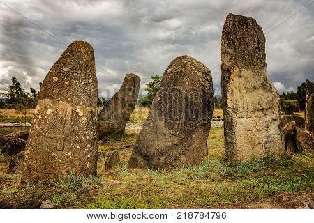 Megalithic Tiya stone pillars, a UNESCO World Heritage Site near Addis Abbaba, Ethiopia.