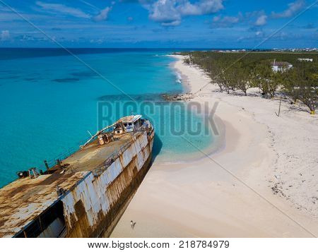 Aerial view of shipwreck and beach in Grand Turk island