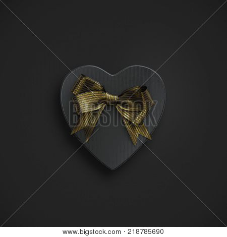 Black heart shaped gift box with golden bow on black. Top view. 3D render