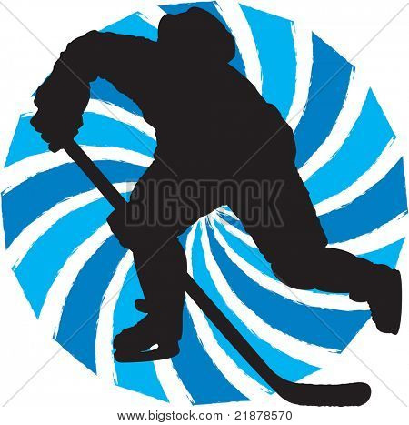 silhouette hockey player in participation symbol