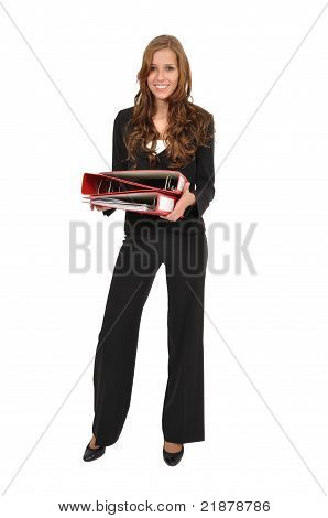 Employee In A Suit Carried Three Red Folder