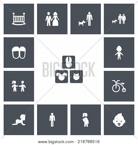 Set of 13 editable relatives icons. Includes symbols such as pregnant woman, child, baby bed and more. Can be used for web, mobile, UI and infographic design.