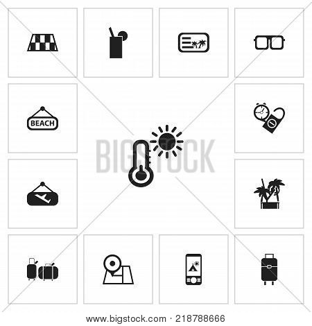 Set of 13 editable journey icons. Includes symbols such as roadblock, beach, trip and more. Can be used for web, mobile, UI and infographic design.