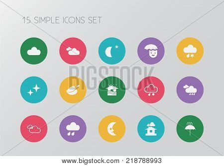 Set of 15 editable climate icons. Includes symbols such as overcast, hail, flood drop and more. Can be used for web, mobile, UI and infographic design.