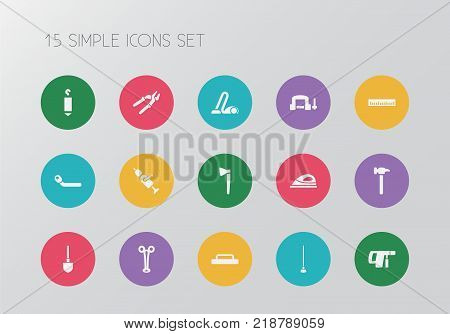 Set of 15 editable apparatus icons. Includes symbols such as pincers, hummer, float and more. Can be used for web, mobile, UI and infographic design.