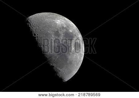 Half moon with sharp details. Close up of the Half Moon on dark black sky