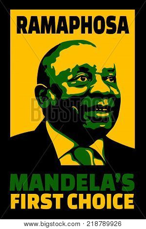 JOHANNESBURG, SOUTH AFRICA - 18 December 2017 - Illustration poster of first choice by Mandela of Ramaphosa to succeed him as head of ANC.