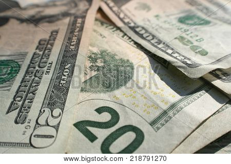 Twenty Dollar Bill Close Up High Quality Stock Photo