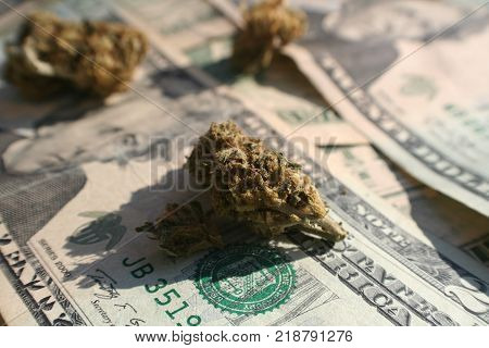 Marijuana Bud On Twenties Close Up Stock Photo High Quality