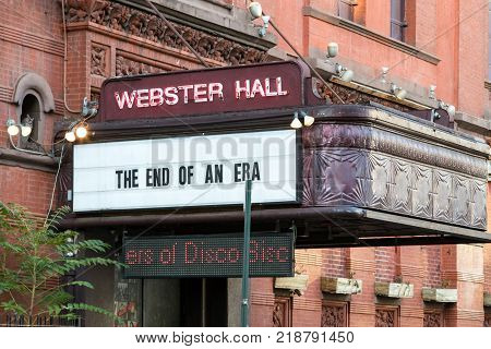 New York City - Circa 2017: Sign In Front Of Webster Hall Announces The End Of An Era With The Closi