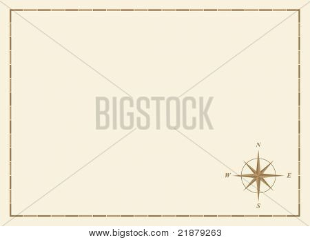 old blank map with compass rose and border