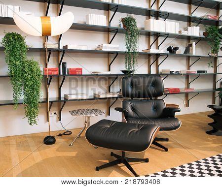WEIL AM RHEIN, GERMANY - NOVEMBER 26, 2017: Interior inside VitraHaus building. Lounge chair.
