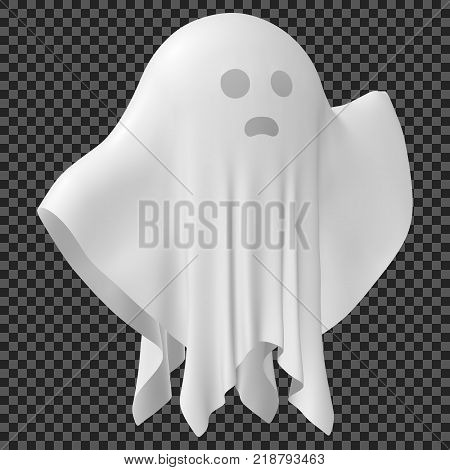 eps10. Ghost of Halloween party in white sheet on transparent background. Vector illustration