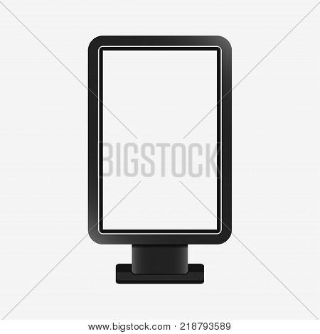 Light box - realistic mockup. Blank template of citylight. Outdoor advertising stand board, vertical billboard. Vector illustration.