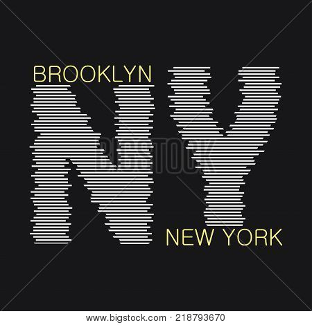 New York typography graphics. Brooklyn print for t-shirt, design of clothes. Stamp for sport apparel. Vector illustration.