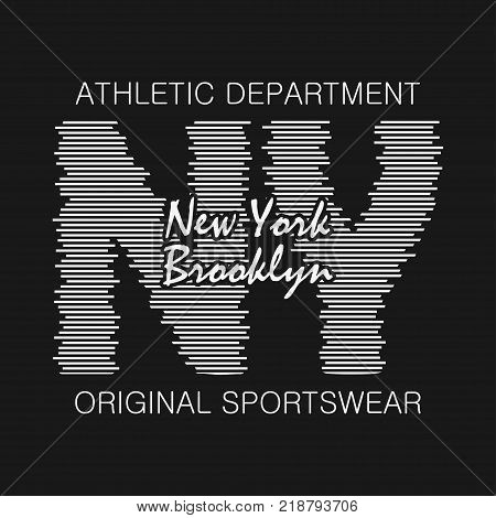 New York typography graphics. Brooklyn print for t-shirt, design of athletic clothes. Stamp for sport original apparel. Vector illustration.