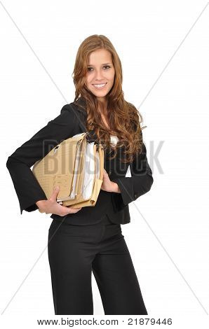 Woman In A Suit Wearing File