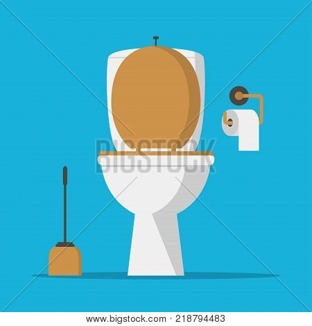 Toilet bowl, lavatory paper and toilet brush. Vector illustration.