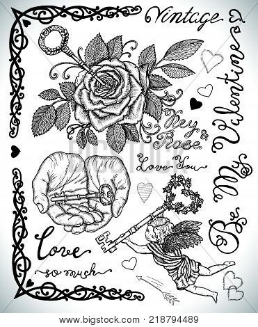 Design set with key in rose, key in human hands and angel with key. Graphic collection for antique decorations, card. Hand drawn vintage vector illustration with Valentine's Day concept