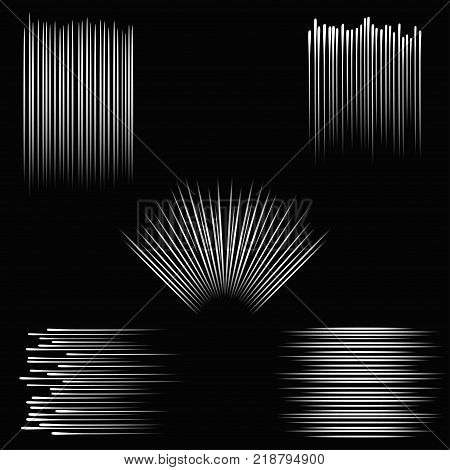 Speed lines. Flying stripes set. Elements for comic book - explosion effect, burst rays, graphics for fights background. Vector illustration.