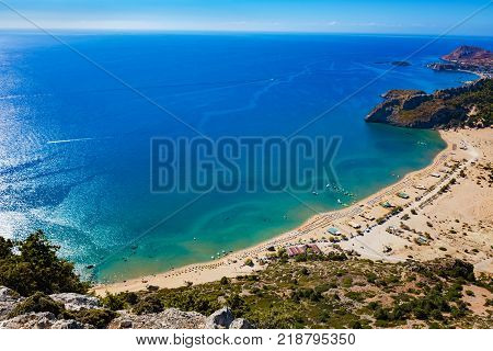 Tsambika beach with golden sand - view from Tsambika monastery (RHODES GREECE)