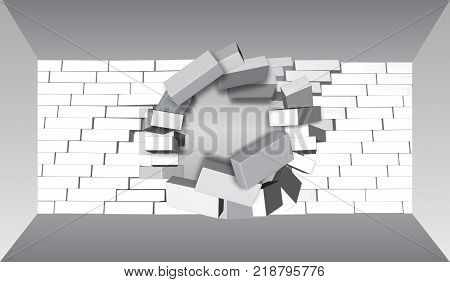 EPS10.Destruction of a Brick Wall. 3D Breaking Brick Wall. Wall Being Smashed or Breaking Apart. Destruction Abstract Background.