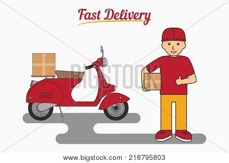 Fast Delivery Services - poster, logo, banner. Courier man holding a box. Scooter or moped for transportation of parcels. Vector illustration.