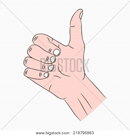 Thumb up sign. Like, cool, good, nice, bravo - hand gesture with finger up. Vector illustration.