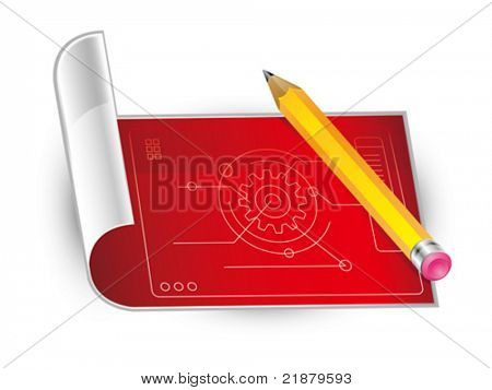 icon vector yellow pencil and blanching paper