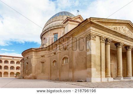 La vieille charite, almshouse, ancient building with column. Marseille, France
