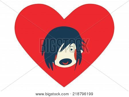 Scared kid and heart shape. Concept illustration against sexual harassment, abuse and domestic violence. Kids Rights supporting vector  illustration.