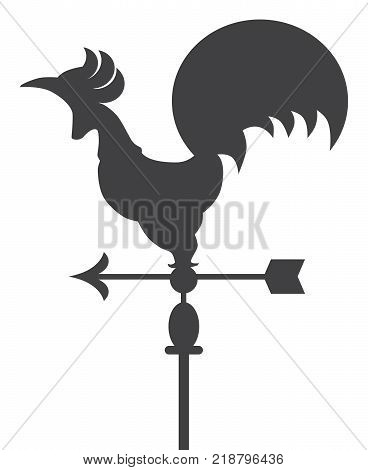 Metal rooster shaped weather vane atop a pole