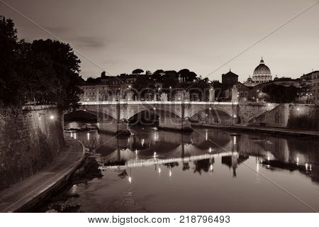 River Tiber and St Peters Basilica in Vatican City at dusk