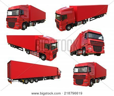 Set large red truck with a semitrailer. Template for placing graphics. 3d rendering