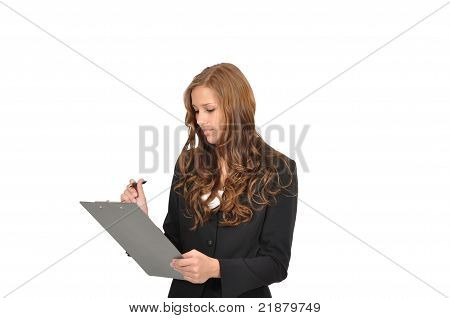 Young Woman In Suit With Clipboard