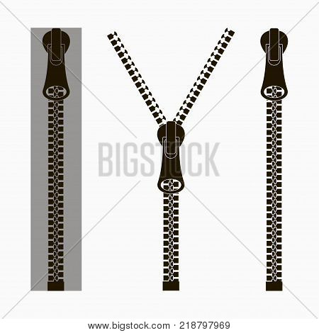 Zippers. Set of closed and open zip with fastener. Clasp for clothes. Vector illustration.