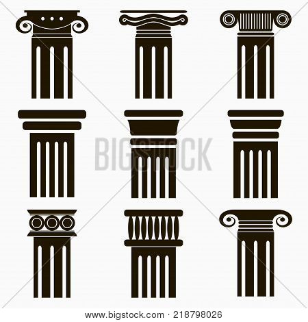 Column icons. Set of ancient architecture pillars. Vector illustration.