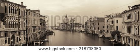 Venice Church Santa Maria della Salute and canal panorama with long exposure in Italy.
