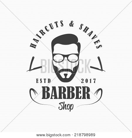 Barber Shop logo. Hairdressing salon template emblem with face man with beard and glasses, straight razor. Vector illustration.