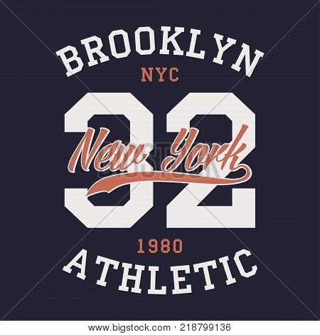 New York Brooklyn sports apparel. Typography emblem for t-shirt. Vintage clothes print, athletic number design. Vector illustration.