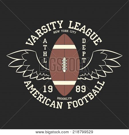 American football varsity league print logo. Graphic design for t-shirt, sport apparel. Typography for clothes. Vector illustration
