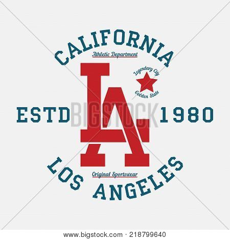Los Angeles, California typography for design clothes. Graphics for print product, t-shirt, vintage sport apparel. Vector illustration.