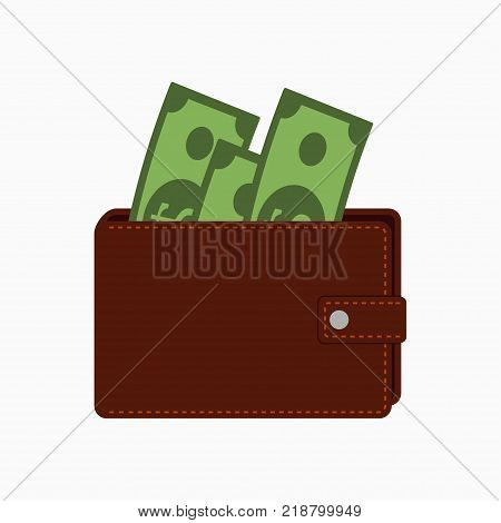 Wallet with money. Purse with banknotes. Vector illustration in flat style.