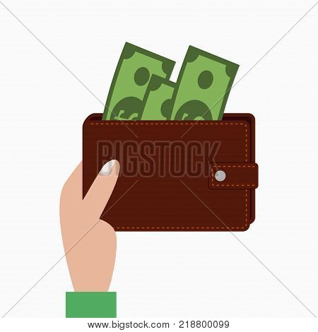 Hand holding wallet with money, purse with banknotes. Vector illustration.