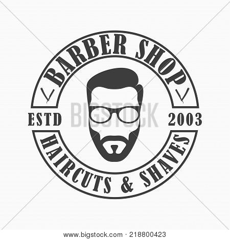 Barber Shop logo. Template emblem of Hairdressing salon with face man with beard and glasses, straight razor. Vector illustration.