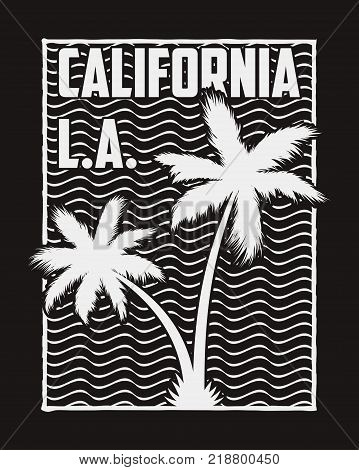 California typography for design clothes with silhouette palm trees and waves. Graphics for t-shirt, apparel, print stamp. Vector illustration.