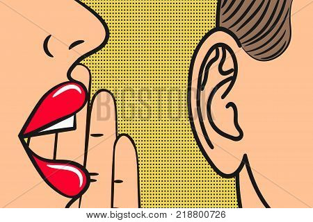 Woman lips with hand whispering in mans ear with speech bubble. Pop Art style, comic book illustration. Secrets and gossip concept. Vector.