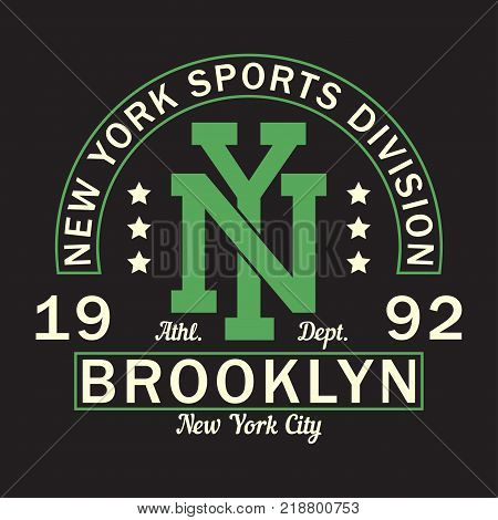 New York, Brooklyn - print logo. Graphic design for t-shirt, sport apparel. Typography for clothes. Sports division. Vector illustration