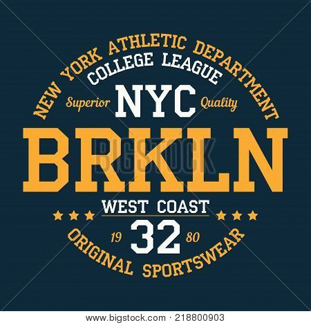 New York, Brooklyn - typography for design clothes, athletic t-shirt. Graphics for print product, apparel. Badge for original sportswear. Vector illustration.