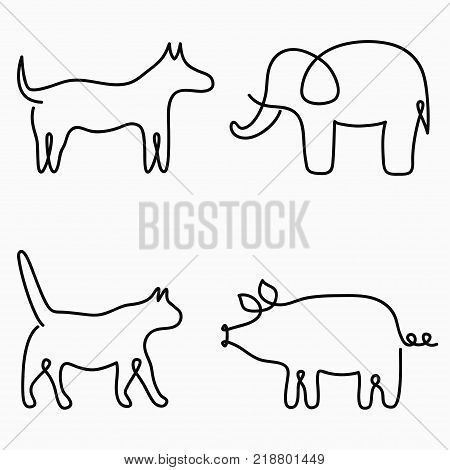 Animals one line drawing. Continuous line print - cat, dog, pig, elephant. Hand-drawn illustration for logo, emblem and design card, poster. Vector.